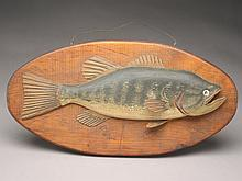 Carved wooden plaque of a perch, Albert Mitchell, Maine.