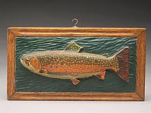 Three vintage trout plaque carvings.