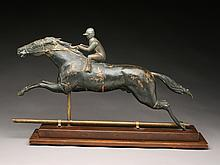 Full body copper horse and jockey weathervane, circa 1910.
