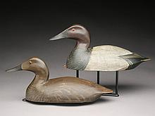 Hollow carved canvasback hen and drake carved in style of  John R. Wells, Torrey Ward, Manitoba, Canada.