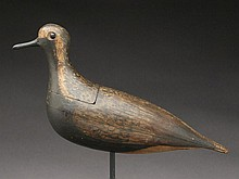 Extremely rare and early hollow black bellied plover, maker unknown, late 19th century.