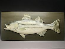 Carved striped bass on back board, George Strunk.