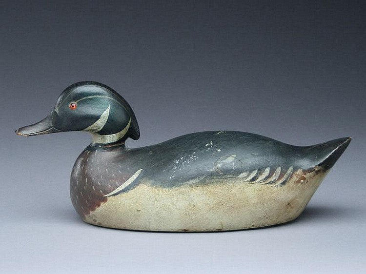 Extremely rare and important wood duck drake, Mason Decoy Factory, Detroit, Michigan, circa 1910.