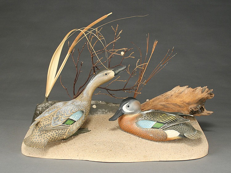 Pair of bluewing teal on carved wooden base, Oliver Lawson, Crisfield, Maryland.