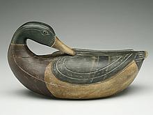 Well made reproduction of a Caines Brothers preening mallard drake.