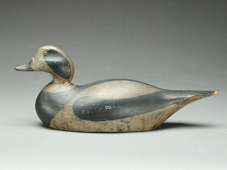 Extremely rare and important oldsquaw drake, Mason Decoy Factory, Detroit, Michigan, circa 1905.