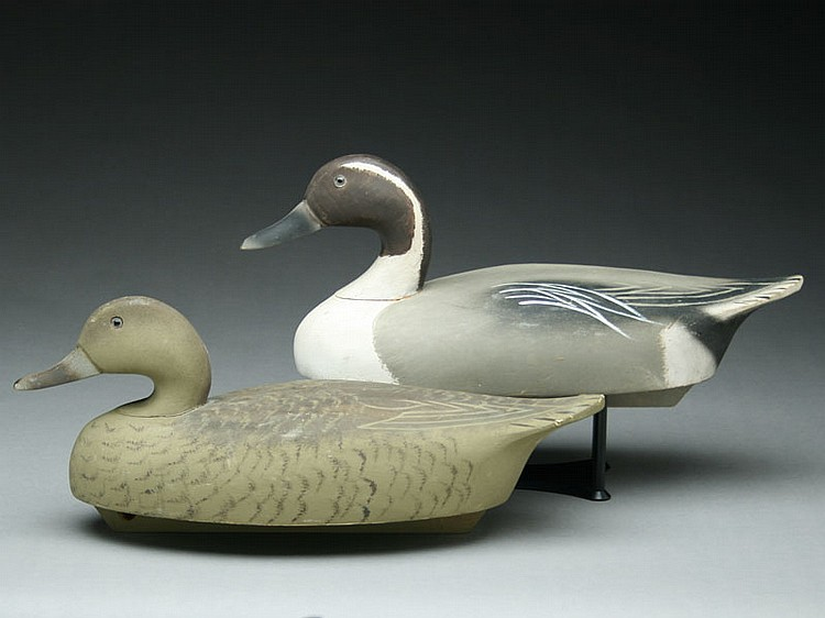 Pair of pintails with balsa bodies, Wildfowler Decoy Factory, Old Saybrook, Connecticut.