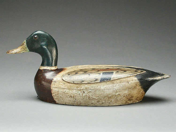 Exceptional hollow mallard drake, raised wing model, Charles Walker, Princeton, Illinois, 2nd quarter 20th century.