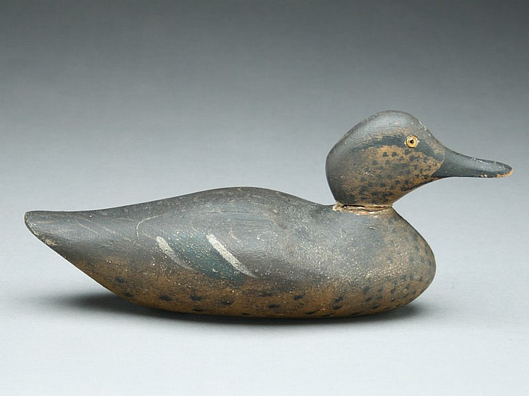 Very rare greenwing teal hen, Dodge Decoy Factory, Detroit, Michigan, circa 1880's.