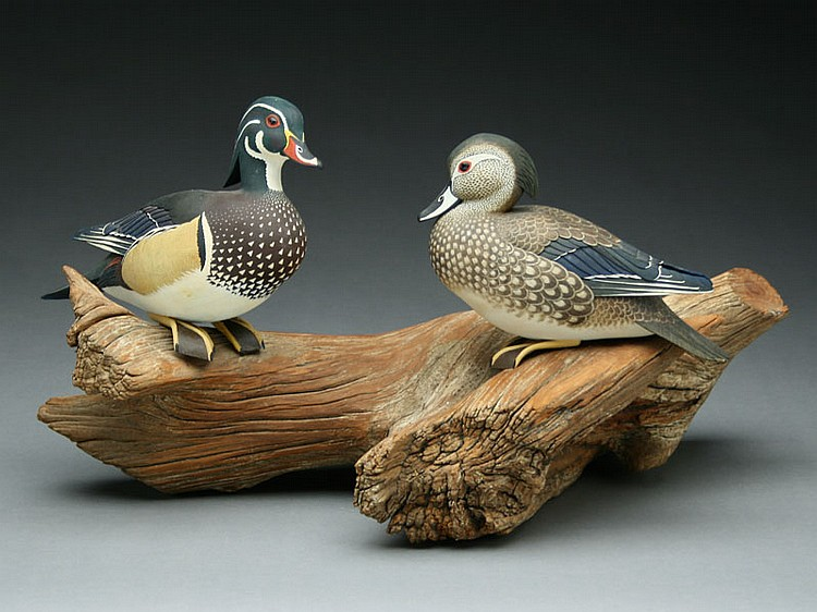 Pair of 2/3 size decorative wood ducks, Wayne Shaddock, Trenton, Ontario.