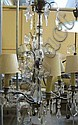 Takkrona, mässing med bl a lövformade prismor,