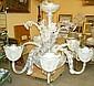 Takkrona, glas, Orrefors 1950-tal, 6 ljusarmar,
