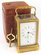 A French gilt brass Drocourt carriage clock