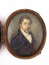 Miniature oval. 'Portrait of a Young Gentleman'.
