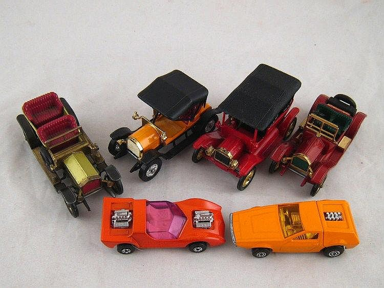 Six matchbox toy cars, two modern, four Models of