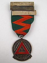 A sterling silver safe drivers award medal,