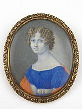 Fine 19th Century miniature.'Lady in a Blue