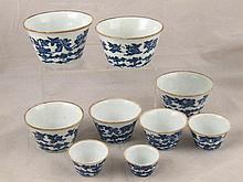 A set of nine Chinese ceramic bucket shaped
