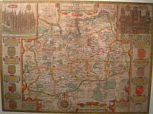 A framed 17th. century John Speede map of Surrey,
