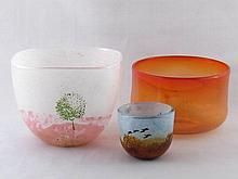 A Kosta Boda squared circle studio glass ''May'' v