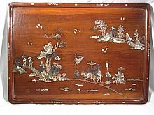A Chinese hardwood tray or wall plaque inlaid with