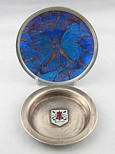 A silver pin tray with enamelled shield marked ''W
