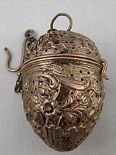 A German 800 standard silver, tea infuser on chain