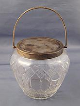 A sterling silver mounted cut glass biscuit barrel