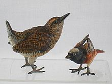 Two cold painted bronze birds, a chaffinch , ht. 4