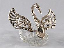 A cut glass dish in the form of a swan with hinged