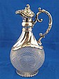 A silver mounted, German 800 assay, claret jug,