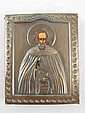 A Russian Icon of a Saint, hand raised in