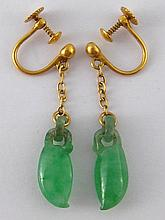 A pair of Chinese carved jade and gold earrings, s