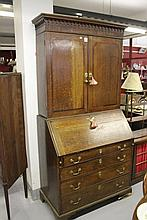 19th cent. Oak bookcase bureau with inlaid banded