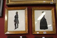 19th cent. Style silhouettes of a lady and