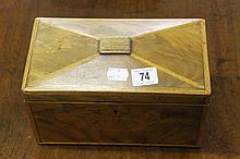 19th cent. Mahogany tea box, triangular raised