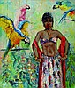 Barth, F. (?), Young beauty with macaws, oil