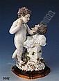 Grosse Porzellangruppe, Meissen, um 1750, zwei Putto als Maler u. Bildhauer, Entwurf Meyer,