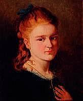 Klenke, H., datiert 1878, Porträt eines Mädchens,