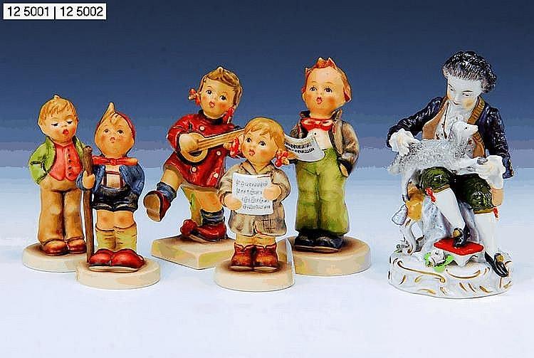 5 Hummelfiguren, Goebel, 2.H.20.Jh., Steingut,