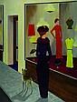 G. Diepeveen, Dame vor Modeboutique, Öl/Lwd,