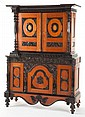 A PORTUGUESE MAHOGANY AND EBONIZED WOOD CABINET  19th c