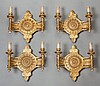 FOUR LOUIS XVI-STYLE GILT BRONZE TWO-LIGHT WALL SCONCES