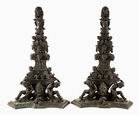 A PAIR OF MONUMENTAL ITALIAN BAROQUE-STYLE PATINATED BR