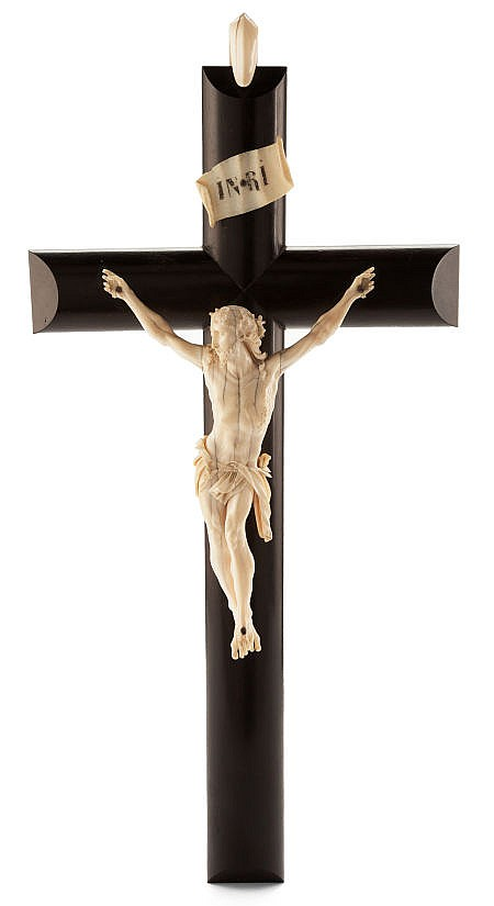 AN ITALIAN IVORY AND EBONIZED WOOD CRUCIFIX  Maker unkn