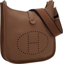 Hermes Brulee Clemence Leather Evelyne III GM Bag with