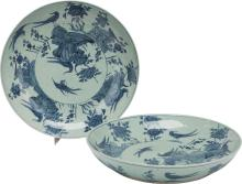A PAIR OF CHINESE PORCELAIN CHARGERS 4 inches high x 22