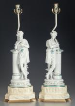 A PAIR OF CONTINENTAL PORCELAIN FIGURAL LAMPS WITH SILK