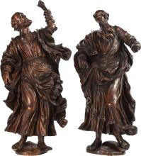A PAIR OF ITALIAN RENAISSANCE-STYLE CARVED WOOD FIGURES