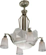 A FRENCH WHITE METAL AND FROSTED GLASS EIGHT-LIGHT CHAN